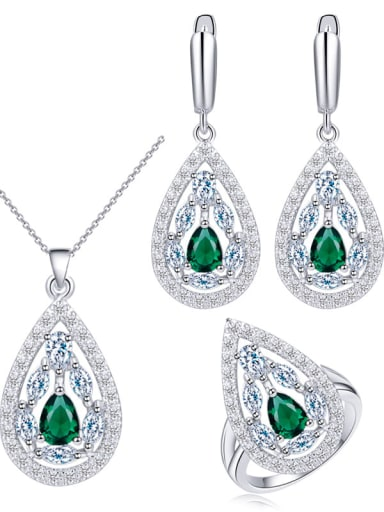 Drop Brass Cubic Zirconia Luxury Water  Earring and Necklace Set
