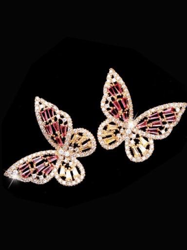 Golden Rose Red Diamond Brass Cubic Zirconia Butterfly Statement Stud Earring