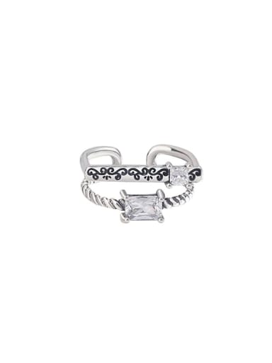 925 Sterling Silver Cubic Zirconia Geometric  Vintage Twist double layer Stackable Ring