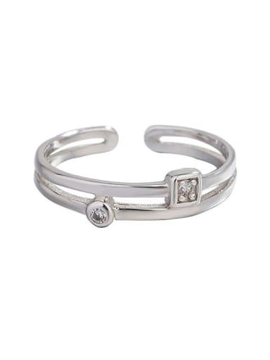 925 Sterling Silver Cubic Zirconia Geometric Vintage Midi Ring