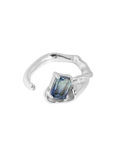 Silver [13 adjustable] 925 Sterling Silver Glass Stone Irregular Vintage Band Ring