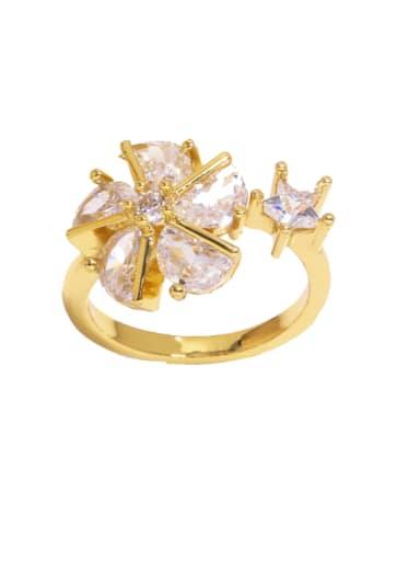 B Brass Cubic Zirconia Flower Trend Band Ring