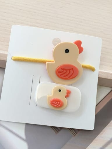 2 little yellow duck Alloy Acrylic Cute Children cartoon animal fruit Hairpin Rubber band Set