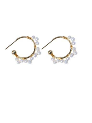 Brass Freshwater Pearl Geometric Minimalist Hoop Earring