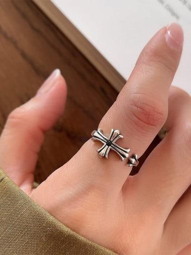 Cross ring j66 2.7g 925 Sterling Silver Carnelian Irregular Vintage Band Ring