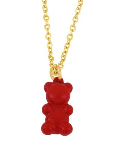 gules Brass Enamel Cute Bear Pendant Necklace