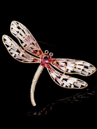 Brass Cubic Zirconia Dragonfly Trend Brooch