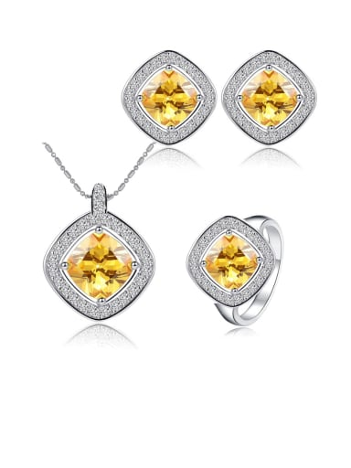Brass Cubic Zirconia Minimalist Square Earring Ring and Necklace Set