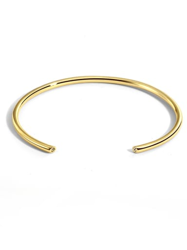 Brass Smooth Geometric Vintage Cuff Bangle