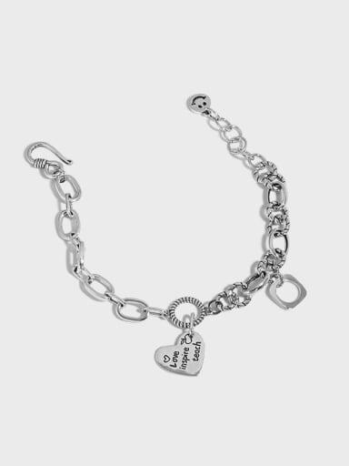 925 Sterling Silver Hollow Geometric  Chain Vintage Link Bracelet