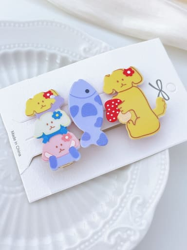4 flower puppy Alloy Resin Multi Color Trend Icon Hair Barrette