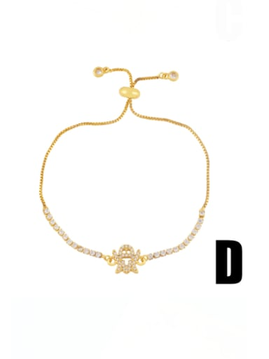 D Brass Cubic Zirconia Smiley Minimalist Adjustable Bracelet