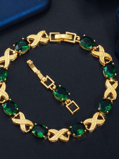 green Copper Cubic Zirconia Geometric Luxury Bracelet