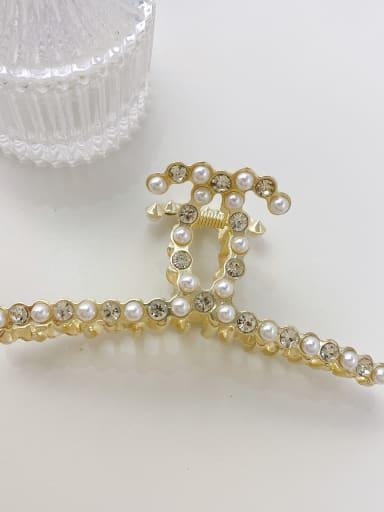 Pearl Rhinestone 11.2cm Alloy Imitation Pearl Minimalist Geometric  Jaw Hair Claw