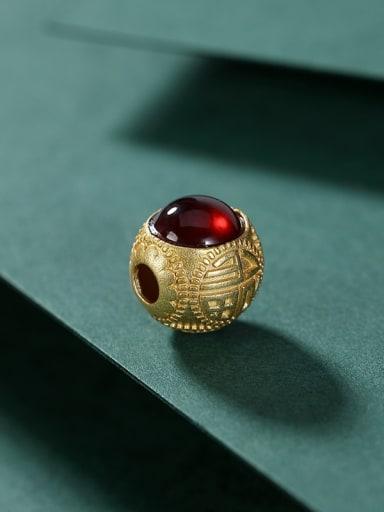 Pendant (without chain) 925 Sterling Silver Garnet Round Vintage Bracelet