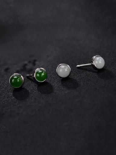 925 Sterling Silver Jade Round Cute Stud Earring