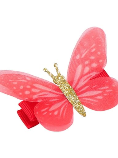 5 Alloy Fabric Cute Butterfly  Multi Color Hair Barrette