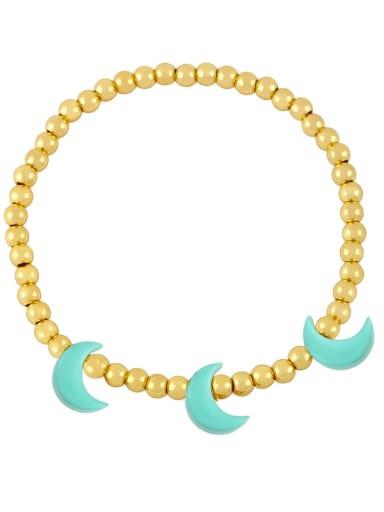 green Brass Enamel Moon Minimalist Beaded Bracelet