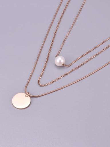 Titanium Steel Imitation Pearl Tassel Minimalist Multi Strand Necklace