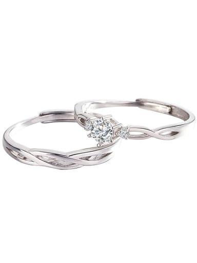 925 Sterling Silver Rhinestone Geometric Simple couple Ring