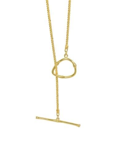 golden 925 Sterling Silver Geometric Minimalist Lariat Necklace