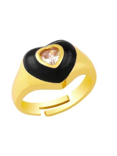 black Brass Enamel Cubic Zirconia Heart Hip Hop Band Ring