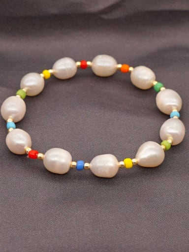 ZZ B200002A Stainless steel Freshwater Pearl Round Minimalist Stretch Bracelet