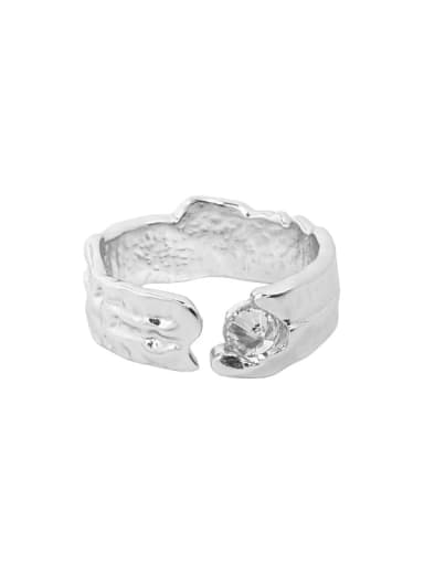 Silver [white stone] 925 Sterling Silver Cubic Zirconia Irregular Vintage Band Ring