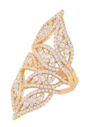 Brass Cubic Zirconia Tree Statement Cocktail Ring