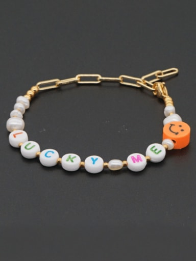 Stainless steel Imitation Pearl Multi Color Letter Minimalist Bracelet