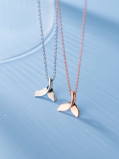 925 Sterling Silver Fish tail Minimalist  Pendant Necklace