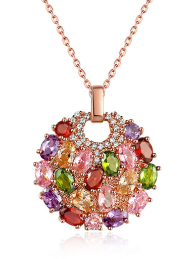 Brass Cubic Zirconia Multi Color Geometric Dainty Necklace