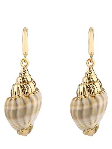 Small earrings Brass Shell Irregular Bohemia Huggie Earring