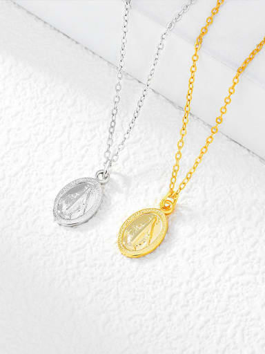 N0095 925 Sterling Silver Oval Vintage Necklace