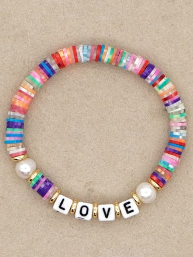 QT B200144E Stainless steel Freshwater Pearl Multi Color Polymer Clay Letter Bohemia Stretch Bracelet