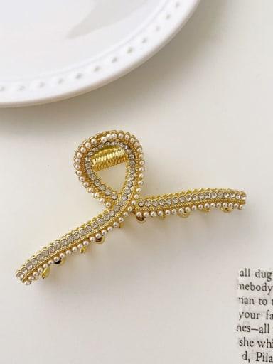 Ribbon Rhinestone Pearl 6cm*2.5cm Alloy Imitation Pearl Minimalist Geometric  Jaw Hair Claw