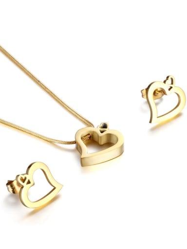 gold Titanium Minimalist Hollow  Heart Titanium Earring And Necklace Set