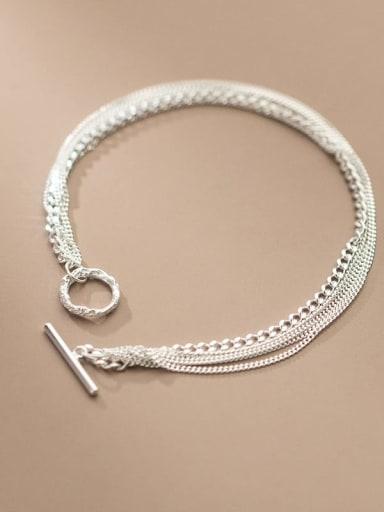 925 Sterling Silver Geometric Minimalist Strand Bracelet