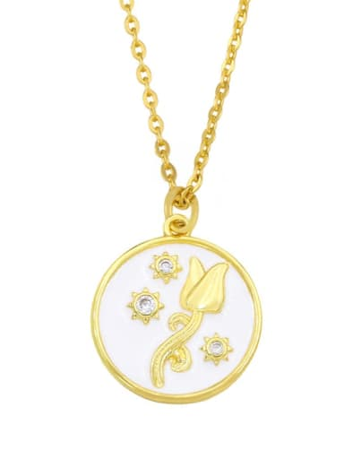 white Brass Cubic Zirconia Flower Hip Hop Necklace