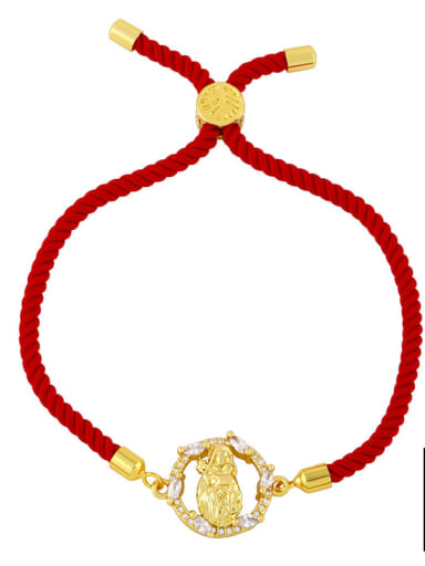 Red rope B Brass Cubic Zirconia Religious Vintage Woven Bracelet