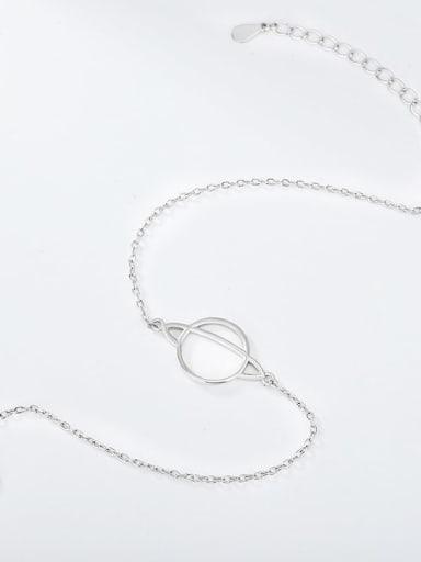 Platinum 925 Sterling Silver Geometric Minimalist  Anklet