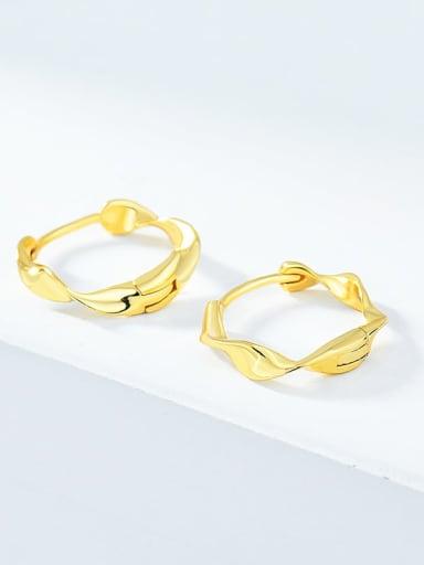 18K Gold 925 Sterling Silver Geometric Minimalist Huggie Earring