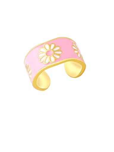 Pink Brass Enamel Flower Hip Hop Band Ring