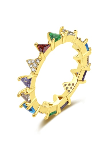 Brass Cubic Zirconia Triangle Dainty Band Ring