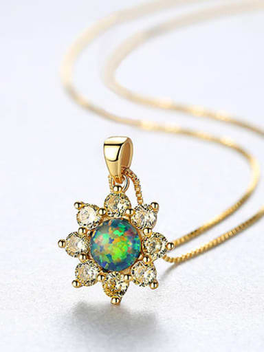 Green 20f07 925 Sterling Silver Simple Opal Inlaid Zircon Sun Flower  Necklace