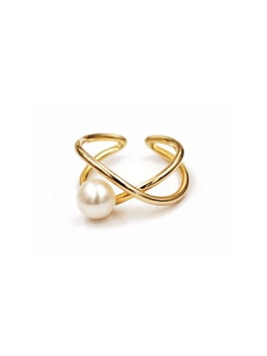 Copper Imitation Pearl White Irregular Minimalist Free Size Band Ring