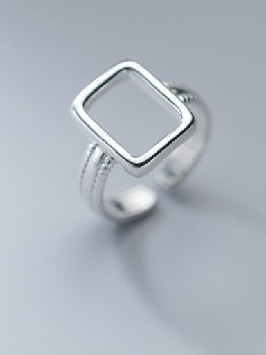 925 Sterling Silver Hollow Geometric Minimalist Band Ring