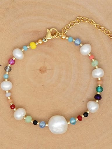 ZZ B200020A Stainless steel Freshwater Pearl Multi Color Round Bohemia Bracelet