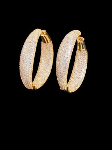 Brass Cubic Zirconia Round Luxury Cluster Earring
