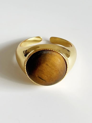 925 Sterling Silver Tiger Eye Oval Vintage Band Ring